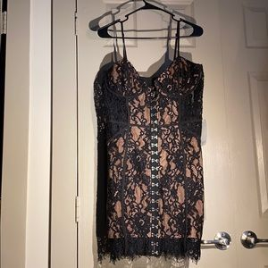 TOBI HONEYMOON BLACK LACE BODYCON DRESS